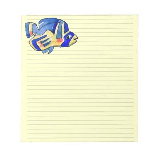 Pescados azules de la mariposa del dibujo animado bloc de notas