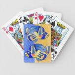 Pescados azules de la mariposa del dibujo animado barajas de cartas