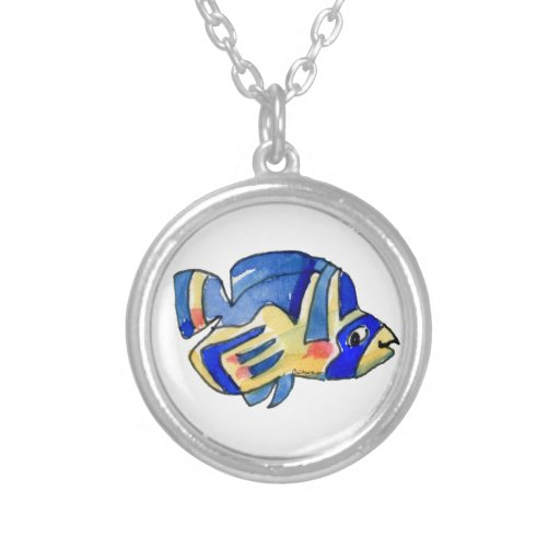 Pescados azules de la mariposa del dibujo animado colgante redondo