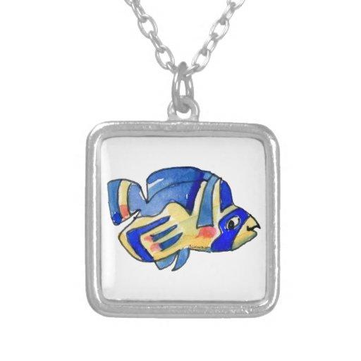 Pescados azules de la mariposa del dibujo animado pendiente personalizado