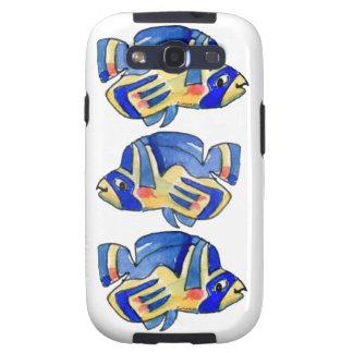 Pescados azules de la mariposa del dibujo animado samsung galaxy s3 fundas