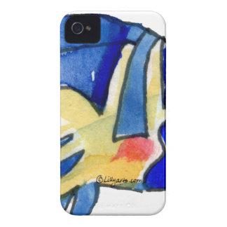 Pescados azules de la mariposa del dibujo animado funda para iPhone 4 de Case-Mate