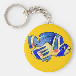 Pescados azules de la mariposa del dibujo animado llaveros