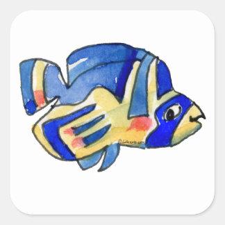 Pescados azules de la mariposa del dibujo animado pegatina cuadrada