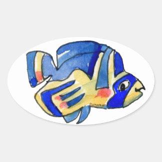 Pescados azules de la mariposa del dibujo animado pegatina ovalada