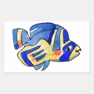 Pescados azules de la mariposa del dibujo animado pegatina rectangular