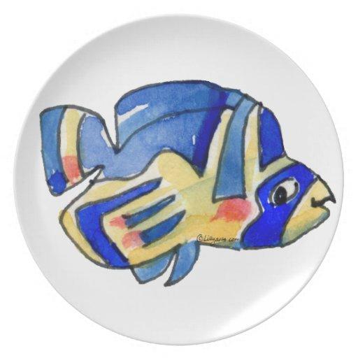 Pescados azules de la mariposa del dibujo animado plato de comida