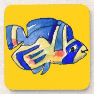 Pescados azules de la mariposa del dibujo animado posavasos