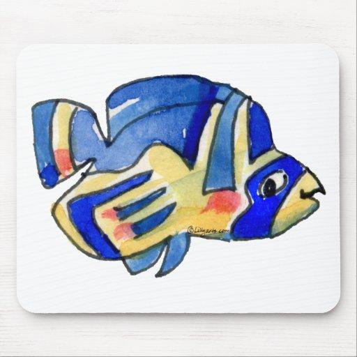 Pescados azules de la mariposa del dibujo animado alfombrilla de ratones