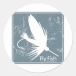 Pescados azules de la mosca etiquetas redondas