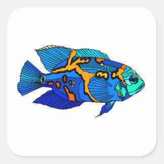 Pescados azules de Óscar Pegatinas Cuadradases Personalizadas