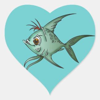 Pescados azules del Guppy Pegatina En Forma De Corazón