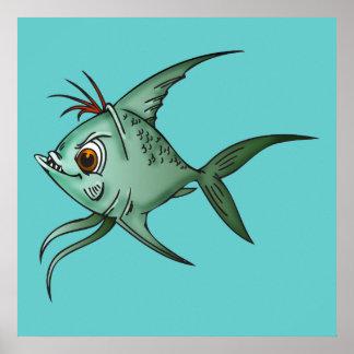Pescados azules del Guppy Póster