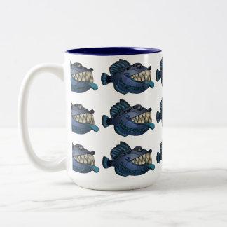 """Pescados azules del """"robot"""" con actitud taza de café de dos colores"""