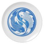 Pescados azules y blancos de Yin Yang Koi Plato Para Fiesta