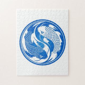 Pescados azules y blancos de Yin Yang Koi Rompecabezas
