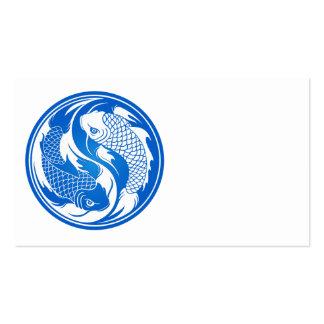 Pescados azules y blancos de Yin Yang Koi Tarjeta De Visita
