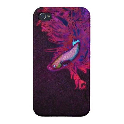 Pescados beta rosados, púrpuras, y azules brillant iPhone 4 carcasa