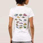 Pescados bilaterales del dibujo animado de camisetas