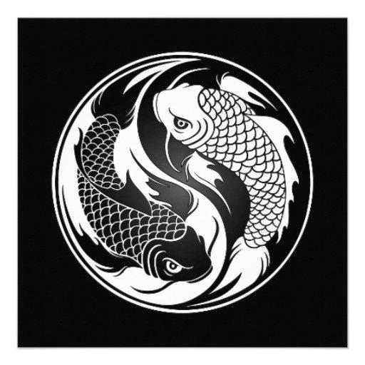 Pescados blancos y negros de Yin Yang Koi Anuncios