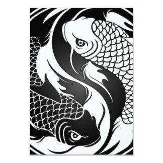 Pescados blancos y negros de Yin Yang Koi Invitación