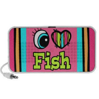 Pescados brillantes del amor del corazón I del ojo iPod Altavoz
