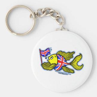 Pescados británicos con una bandera de Union Jack Llavero Redondo Tipo Pin