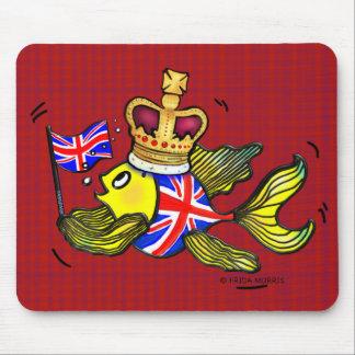 Pescados británicos de la bandera que llevan un alfombrillas de raton