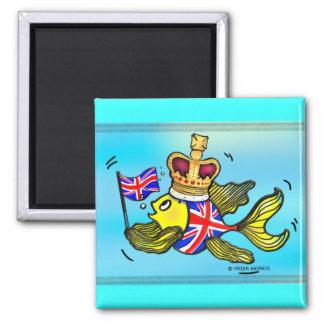 Pescados británicos de la bandera que llevan un di imán cuadrado