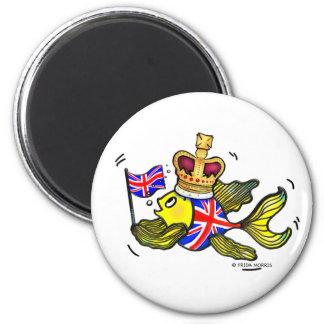 Pescados británicos de la bandera que llevan un di imán redondo 5 cm