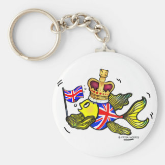 Pescados británicos de la bandera que llevan un di llavero redondo tipo pin