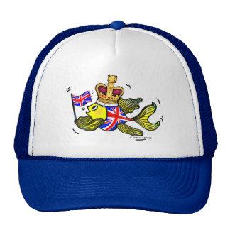 Pescados británicos de la bandera que llevan un gorros