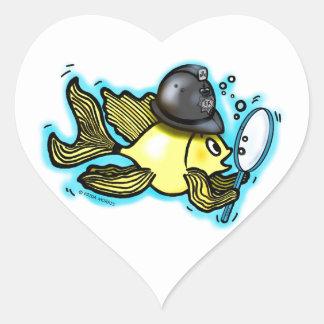 Pescados británicos divertidos del policía de los pegatina en forma de corazón