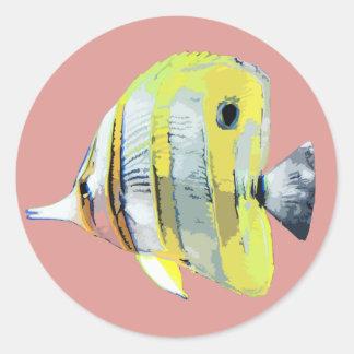 pescados Cobre-congregados de la mariposa Pegatina Redonda
