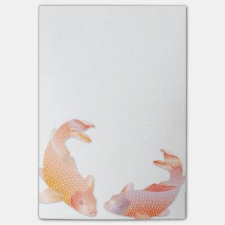 Pescados coloreados de oro brillantes de Koi - Nota Post-it
