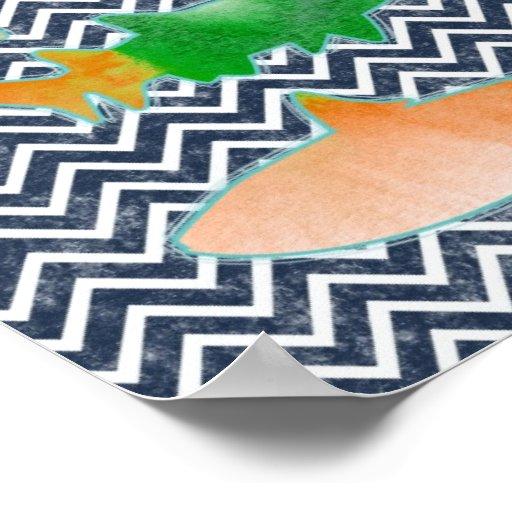 Pescados coloreados en galón del zigzag - azul y b póster