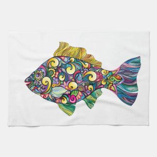 Pescados coloridos de la diversión toallas de mano