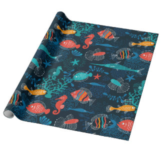 Pescados coloridos en el océano papel de regalo
