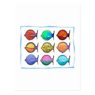 Pescados coloridos tarjeta postal