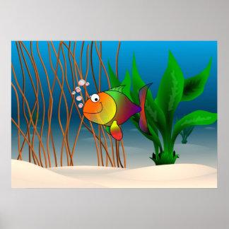 Pescados coloridos y lindos del dibujo animado impresiones