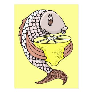 Pescados con el limón postales
