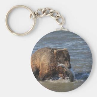¿Pescados conseguidos? Regalos del oso de Alaska B Llavero Redondo Tipo Pin