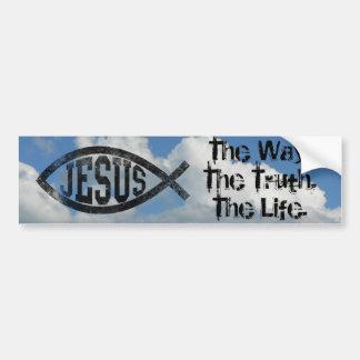 Pescados cristianos de Jesús Ichthys negro Etiqueta De Parachoque