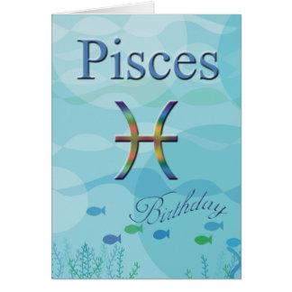 Pescados Cumpleaños-Azules del océano de Piscis Tarjeta