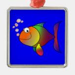 Pescados de arco iris felices adorno