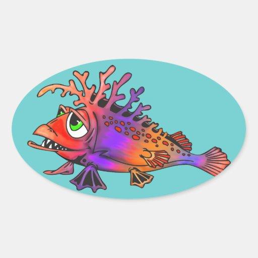Pescados de arco iris pegatinas ovaladas personalizadas