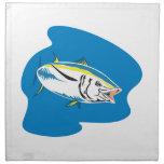 Pescados de atún amarillos de la aleta retros servilleta