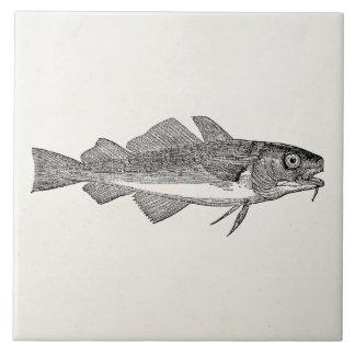 Pescados de bacalao comunes del vintage - teja  ceramica