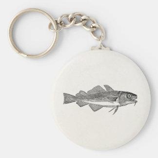 Pescados de bacalao comunes del vintage - llavero redondo tipo pin