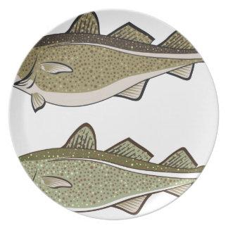 Pescados de bacalao plato de comida